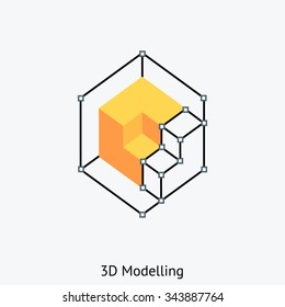 Three Dimensional design icon suitable for info graphics, websites and print media and  interfaces. Color vector icon.