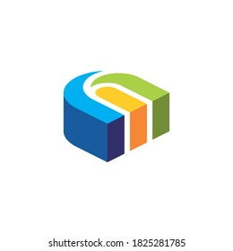 the three dimensional logo of the letter n forms a building