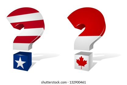 Three dimensional question marks stylized with the American and Canadian flags.