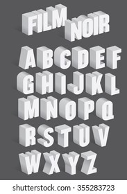 Three Dimensional Retro Vector Alphabet with shadows inspired by old film noir movie titles.