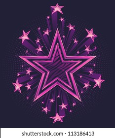 Three Dimensional Shooting Stars Vector Background Illustration. Star in the center has a highly polished chrome double outline with zebra stripe pattern fill.