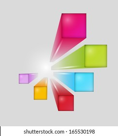 three dimensional squares with shining on white background