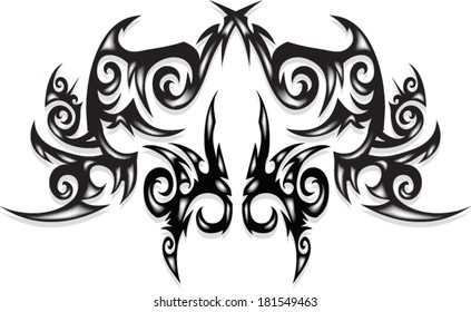 Three dimensional tattoo for the back, shoulders