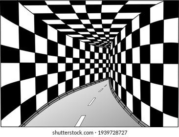 three dimensional tunnel graphic vector illustration