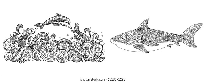 Three dolphins jumping into the sea and shark collection for adult coloring pages,t shirt design,print on product,tattoo and other design element. Vector illustration
