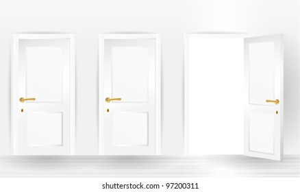 three doors, one open and two closed