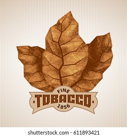 Three dry tobacco leaves with label. Eps8. RGB Global colors