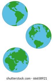 Three Earth Globes