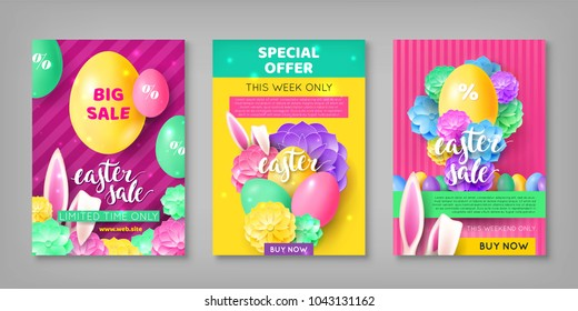 Three easter sale invitations. Flyers, special offer and limited weekly in pink and yellow colors with eggs, rabbit ears and flowers. Vector illustration