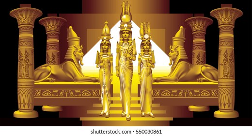 Three Egyptian queen between two sphinxes