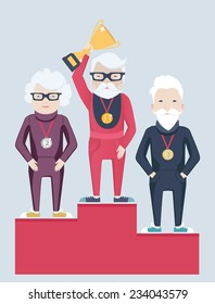 Three elderly grey-haired people standing on a winners podium with a senior bearded man in glasses holding up a gold trophy having been awarded as the champion, flat style vector illustration