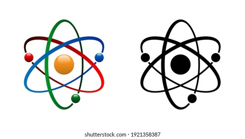 Three electrons rotate in orbits around the atomic nucleus. Symbol of science, education, nuclear physics, scientific research. Atomic icon Vector illustration