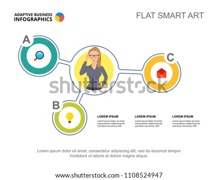 Three Elements Flow Chart Template Presentation Stock Vector