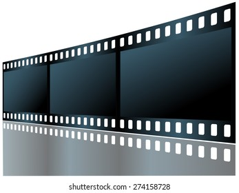 Three empty frame of film with reflection. Vector illustration.