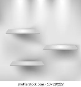 Three empty white shelves. Vector eps10