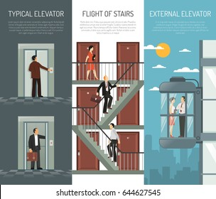 Three escalator stairs vertical banner set with typical elevator flight of stairs and external elevator descriptions vector illustration