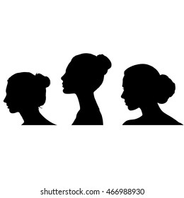 Three faces. Vector illustration.Silhouettes of a profile of a head of girls.Beautiful female face silhouette in profile.The contour of hair.Woman Profile Silhouettes.elegant bride face silhouette.