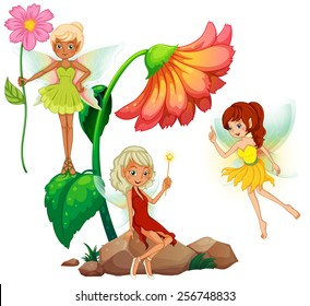 Three fairies and flowers