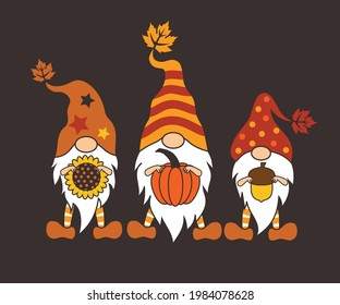 Three Fall Gnomes. Holiday card. Vector design.