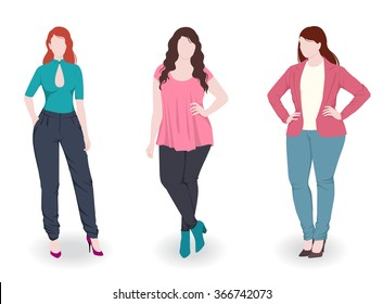 Three fashion women with different wearing trousers