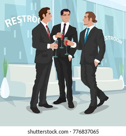 Three fashionable men in black business suits drink cocktails or red wine in office restroom. Mens party concept. Simplified realistic comic art style. Vector illustration