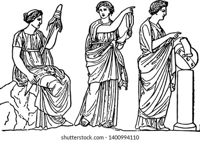 The three fates of Greek Mythology were three sisters named as Clotho Lachesis and Atropos has been distributed work to spun the thread of life decide its fate and cut the threat respectively vintage
