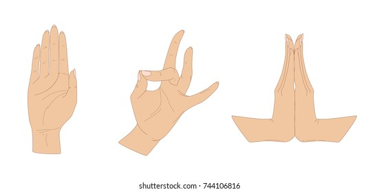 Three female hands in characteristic gestures of Indian dance, vector illustration, isolated on white background