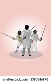 Three fencers / fencing poster