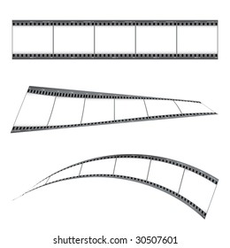 Three film strip with blank place holder and twisted effect