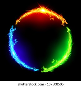Three fire dragons making colorful circle on black background.
