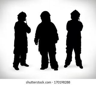 three fireman silhouette