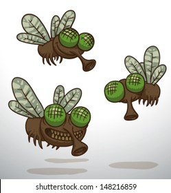 three flies, vector