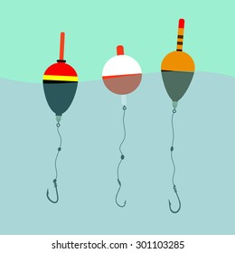three floats with hooks under water, waves, fishing, leisure