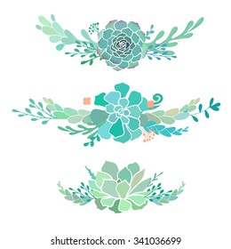 three floral compositions with succulent plants, vector illustration