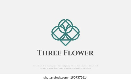 Three Flowers Logo Design in Abstract Linear Style Isolated on White Background. Usable for Hotel, Resort, Spa, Jewelry and Beauty Logos. Flat Vector Design Template Element