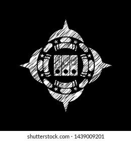 three folders icon inside chalkboard emblem