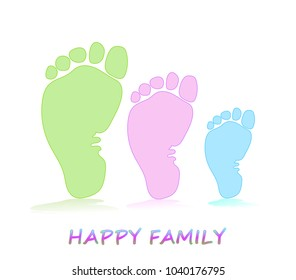 Three footprints - mom, dad and baby. The concept of family, love and care. Parenthood, motherhood, fatherhood. Vector illustration of a trace from the foot icon.