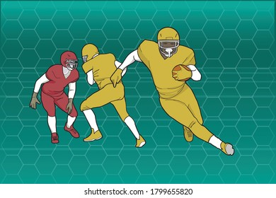 Three fotball players over anstract background