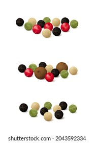 Three, four and five peppercorn medley mixes (green, black, pink (Peruvian or Brazilian), white and Jamaican allspice). Realistic vector illustration. Side view.