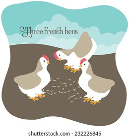 Three French hens eating seed EPS 10 vector illustration
