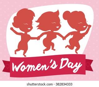 Three friendly girls celebrating Women's Day with a fuchsia commemorative ribbon.