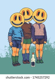 Three friends and a bottle of whiskey. Characters with emoticons instead of faces. Vector illustration.