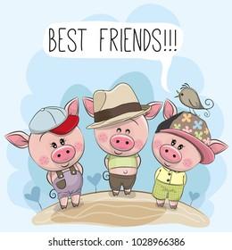 Three friends cute cartoon pigs and a bird