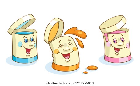 Three funny cans of paint in cartoon style isolated on white background.