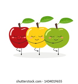 Three funny cartoon apples performing Swan Lake Ballet. Vector illustration isolated on white background