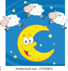 Three Funny Counting Sheep Over A Moon. Vector Illustration