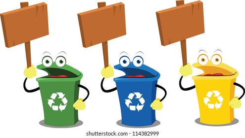 three funny recycling bins holding some wooden signs