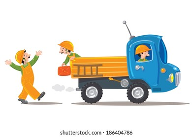 Three funny workers in orange suits and helmets and truck