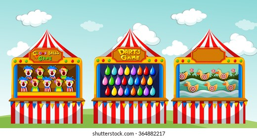 Three game boothes at the circus illustration
