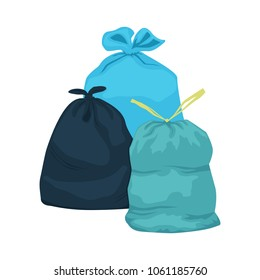 Three garbage bags of different colours isolated on white background. General waste vector illustration
